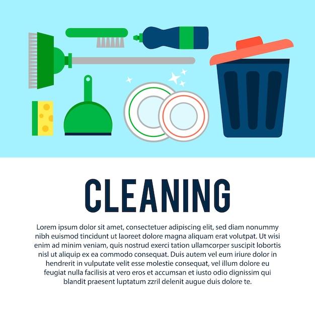 Modèle d'affiche pour les services de ménage avec divers articles de nettoyage Vecteur gratuit
