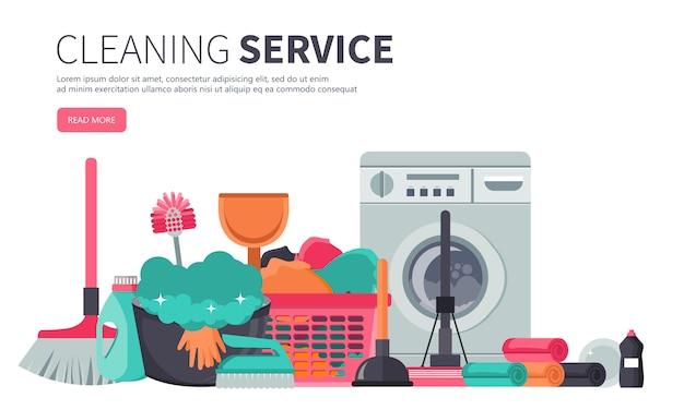 Modèle d'affiche pour les services de nettoyage de maison Vecteur Premium