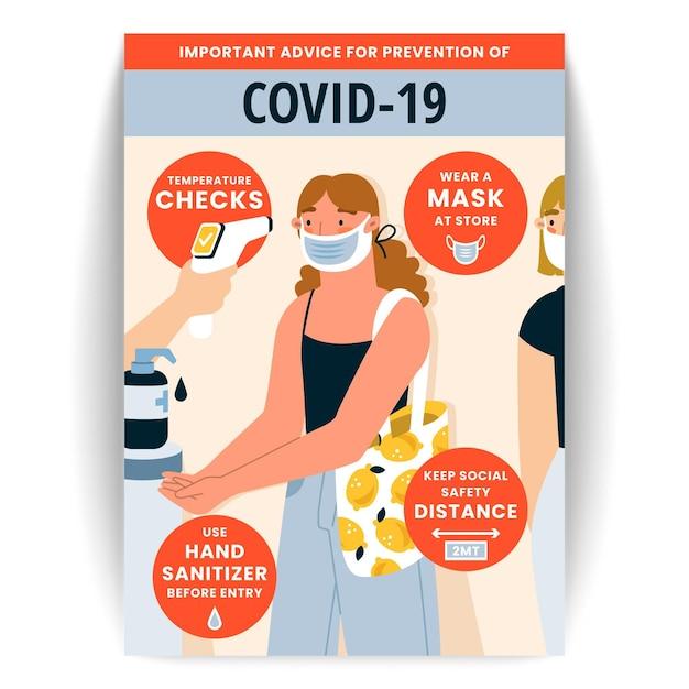 Modèle D'affiche De Prévention Du Coronavirus Pour Les Magasins Vecteur gratuit