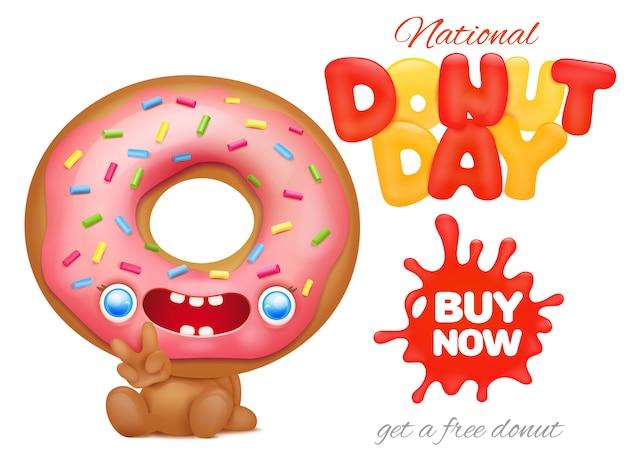 Modèle d'affiche publicitaire pour la fête nationale du donut Vecteur Premium