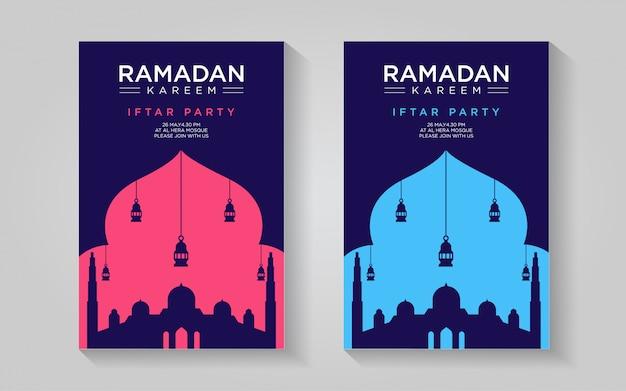 Modèle d'affiche ramadan - simple rose clair et bleu Vecteur Premium