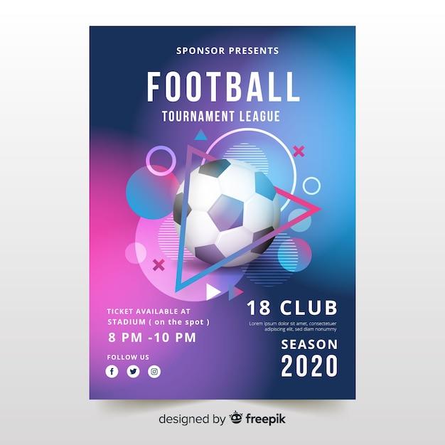 Modèle d'affiche réaliste de ballon de football Vecteur gratuit