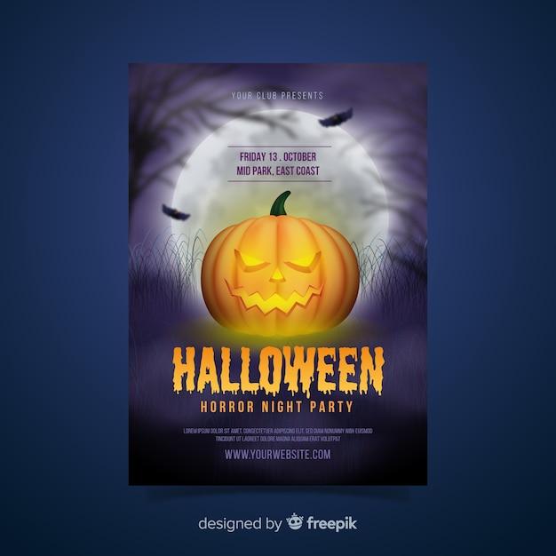 Modèle d'affiche réaliste citrouille d'halloween Vecteur gratuit