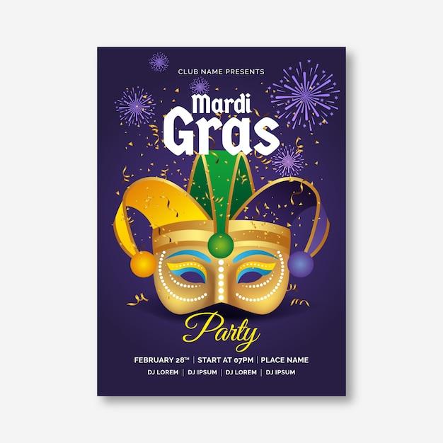 Modèle D'affiche Réaliste De Mardi Gras Vecteur gratuit