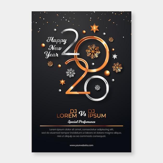 Modèle d'affiche réaliste de nouvel an 2020 Vecteur gratuit