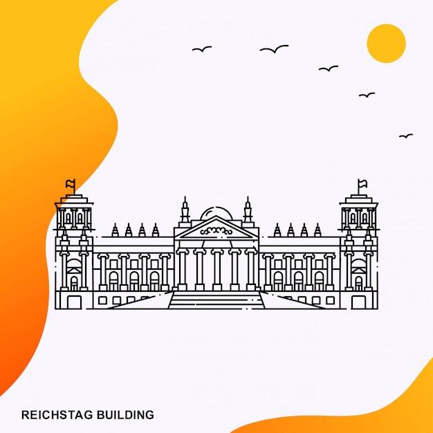 Modèle d'affiche de reichstag building Vecteur Premium