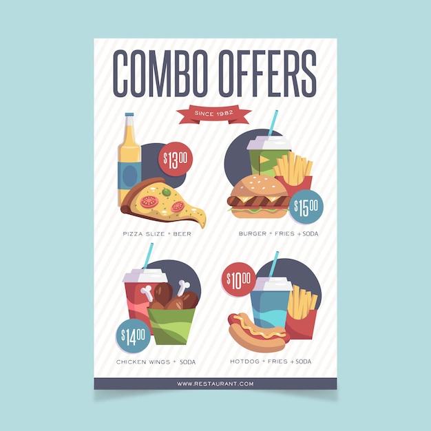 Modèle D'affiche De Repas Combinés Vecteur gratuit