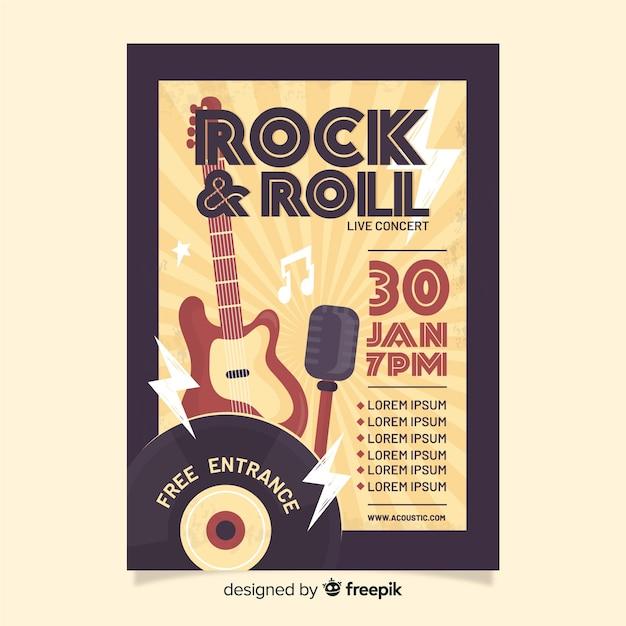 Modèle d'affiche rétro rock and roll Vecteur gratuit