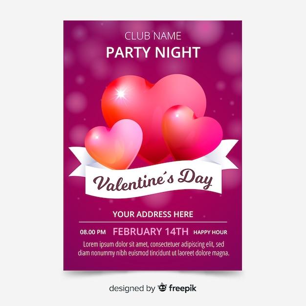 Modèle d'affiche saint valentin coeurs brillants Vecteur gratuit