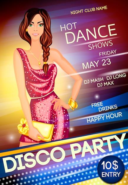 Modèle d'affiche soirée club discothèque Vecteur gratuit