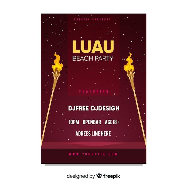 Modèle d'affiche de torches de feu de partie de luau Vecteur gratuit