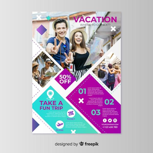 Modèle d'affiche de vacances avec photo Vecteur gratuit