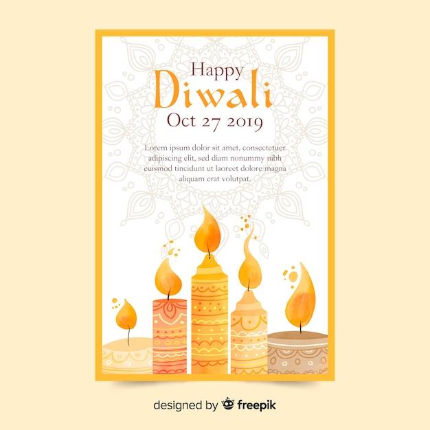 Modèle D'affiche De Vente Aquarelle Diwali Vecteur gratuit