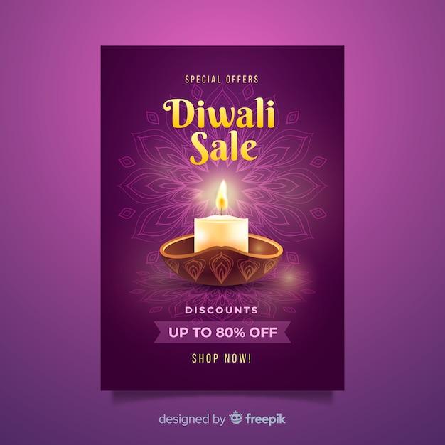 Modèle d'affiche de vente du festival de diwali Vecteur gratuit
