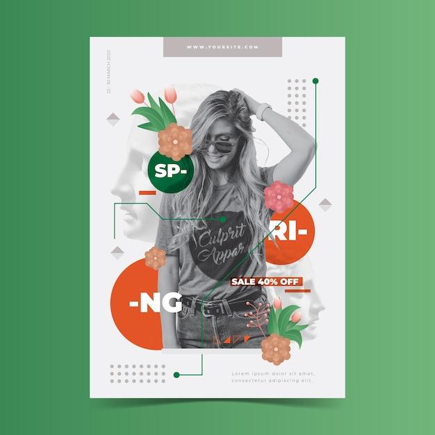 Modèle D'affiche De Vente De Printemps Sur Fond Vert Vecteur gratuit
