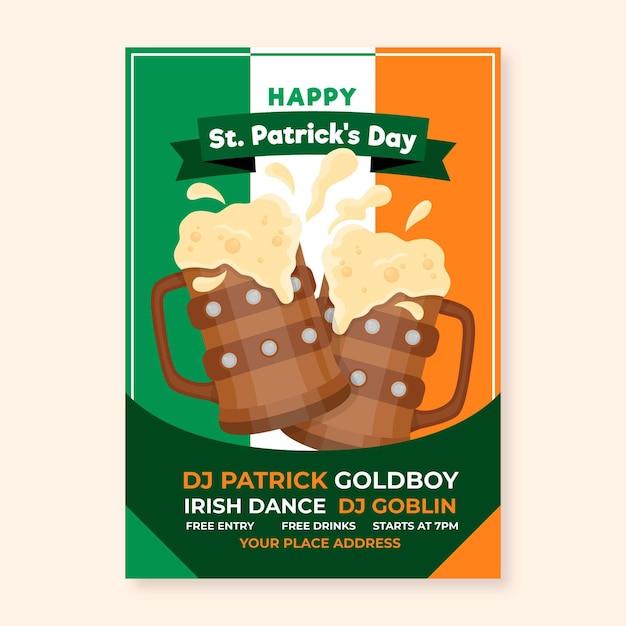 Modèle D'affiche Verticale Pour St. Patrick's Day Avec Drapeau Irlandais Et Bière Vecteur gratuit