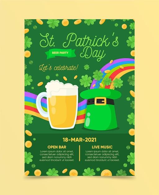 Modèle D'affiche Verticale De La Saint-patrick Avec Bière Et Chapeau Vecteur gratuit