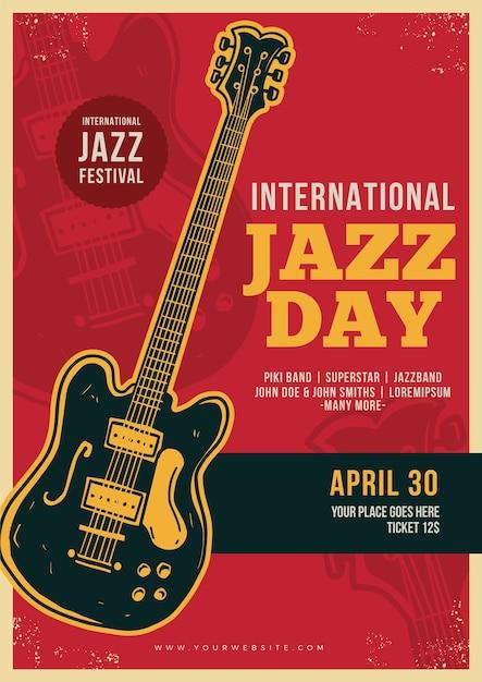 Modèle D'affiche Vintage De La Journée Internationale Du Jazz Vecteur gratuit