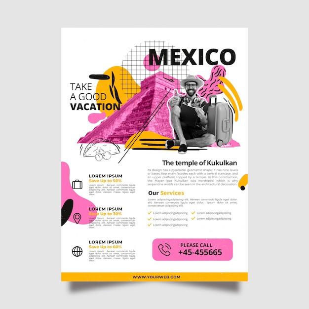Modèle D'affiche De Voyage Au Mexique Vecteur gratuit