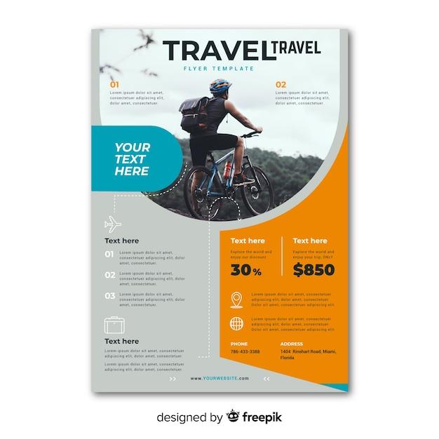 Modèle d'affiche de voyage avec photo Vecteur gratuit