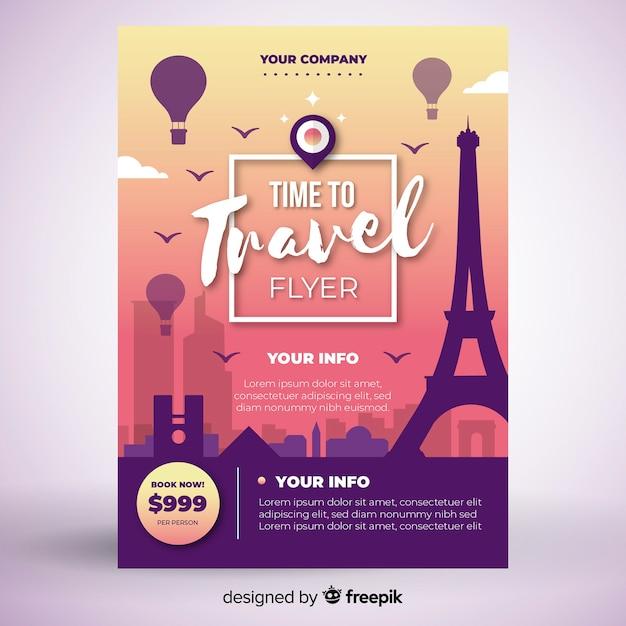 Modèle d'affiche de voyage tour Vecteur gratuit