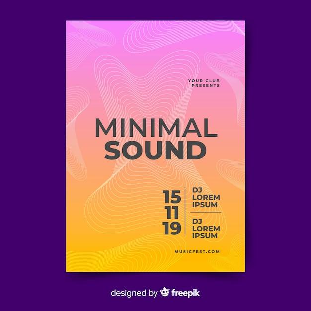 Modèle d'affiches musique ondes sonores Vecteur gratuit