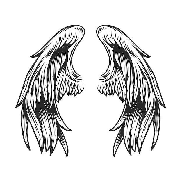 Modèle D'ailes D'ange Vintage Vecteur gratuit