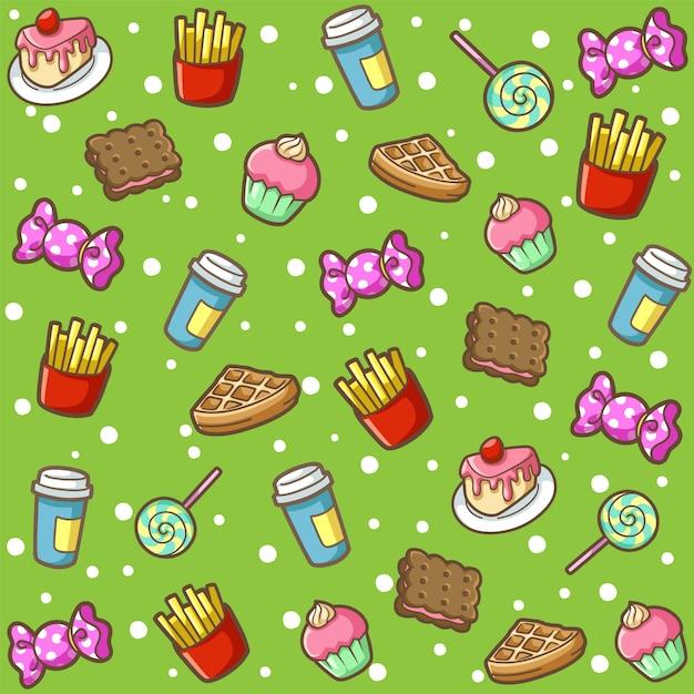 Modèle d'aliments sucrés doodle Vecteur Premium