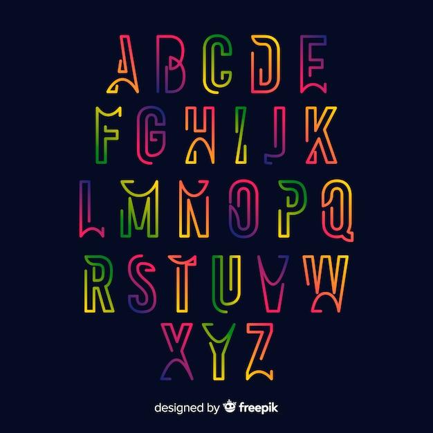 Modèle d'alphabet dégradé coloré Vecteur gratuit
