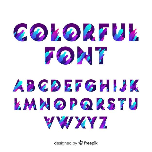 Modèle d'alphabet dégradé typographie Vecteur gratuit