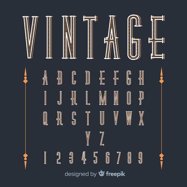 Modèle d'alphabet vintage Vecteur gratuit