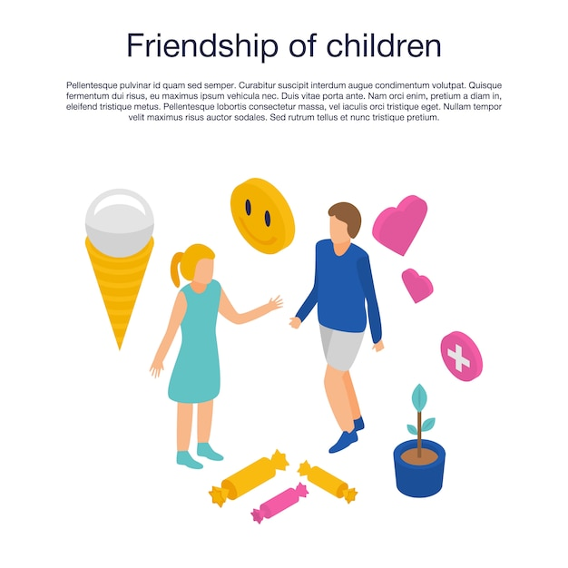 Modèle d'amitié des enfants, style isométrique Vecteur Premium