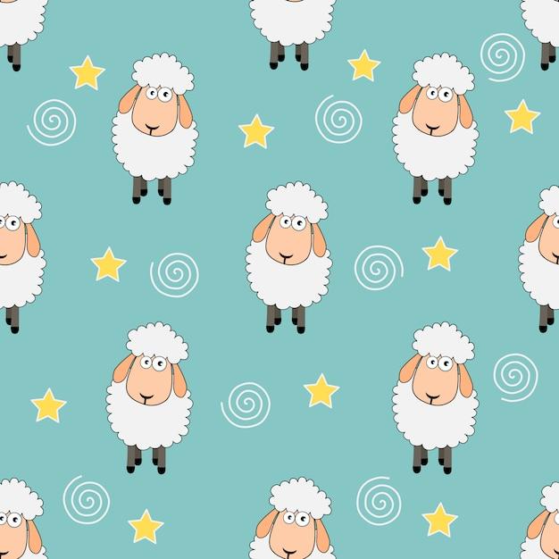Modèle animal drôle de moutons doux rêves sans soudure. Vecteur Premium