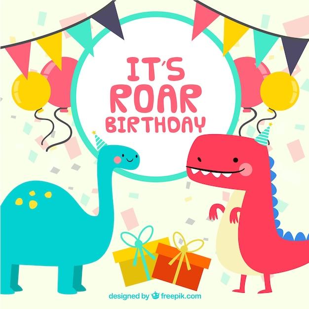 Modèle d'anniversaire avec des dinosaures drôles Vecteur gratuit