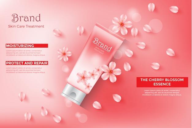 Modèle d'annonce de cosmétique, tube de crème d'essence de fleur de cerisier avec la couleur rose Vecteur Premium