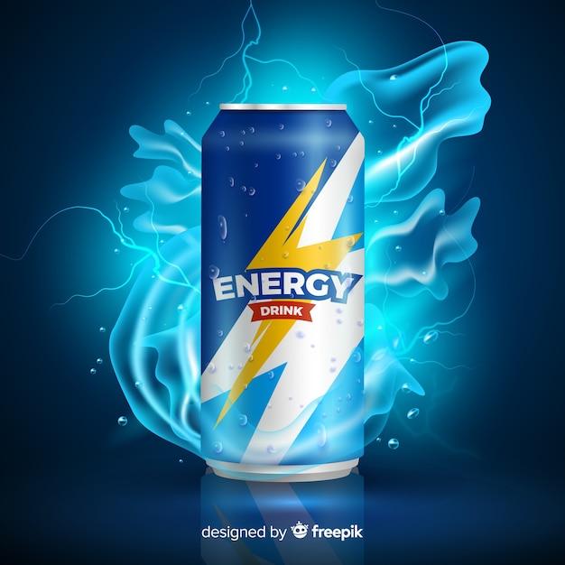Modèle d'annonce réaliste de boisson énergisante Vecteur gratuit