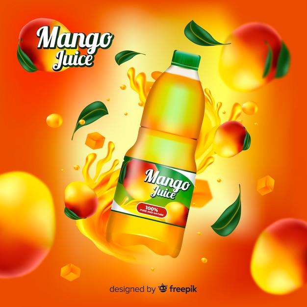 Modèle d'annonce réaliste de jus de mangue Vecteur gratuit
