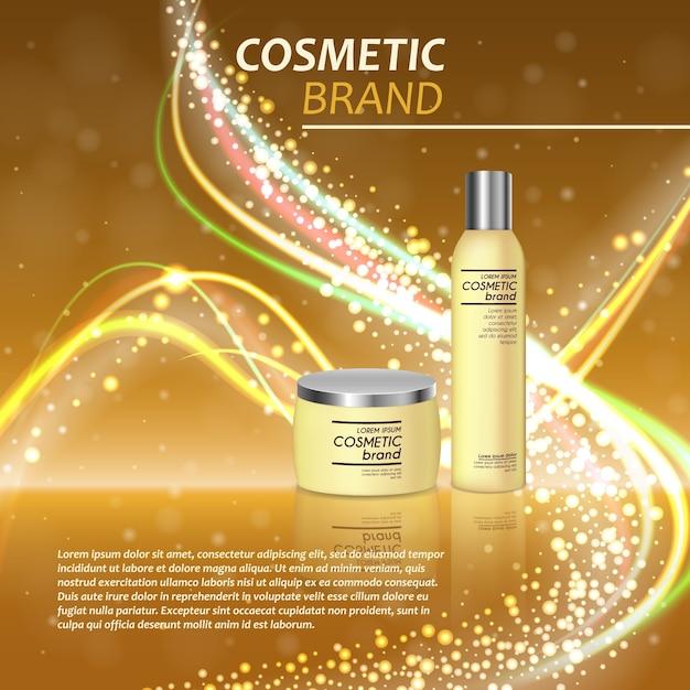 Modèle d'annonces de bouteille cosmétique réaliste 3d Vecteur Premium