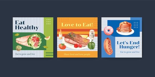 Modèle D'annonces Avec Conception De Concept De Journée Mondiale De L'alimentation Pour La Publicité Et Le Marketing Aquarelle Vecteur gratuit