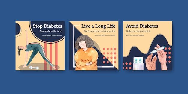 Modèle D'annonces Avec La Journée Mondiale Du Diabète Pour L'aquarelle Marketing Vecteur gratuit