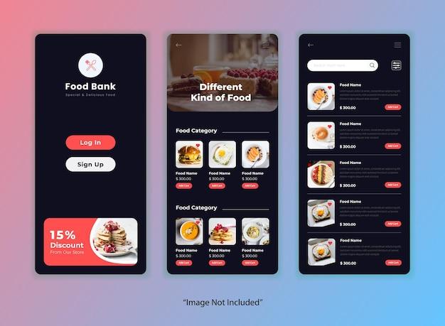 Modèle D'application D'interface Utilisateur De Restaurant Vecteur gratuit