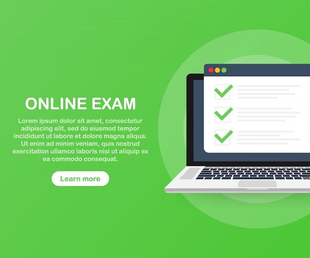 Modèle D'application Web Pour Ordinateur D'examen En Ligne Vecteur Premium