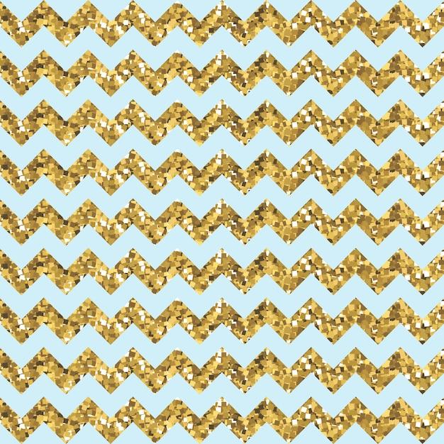 Modèle aqua zigzag avec effet pailleté d'or Vecteur Premium