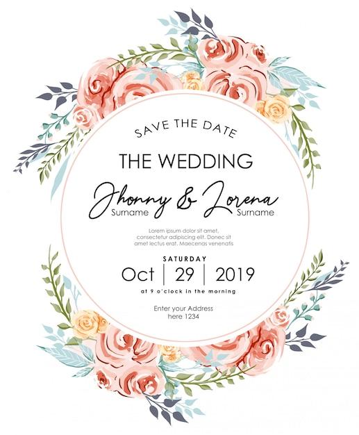 Modèle d'aquarelle pour cadre de carte d'invitation de mariage floral Vecteur Premium