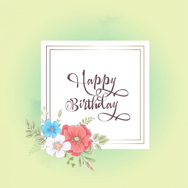 Modèle d'aquarelle pour une fête de mariage d'anniversaire avec des fleurs et un espace pour le texte. Vecteur Premium