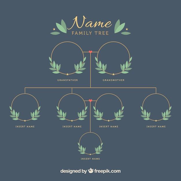 Modèle arbre généalogique avec des feuilles décoratives Vecteur gratuit