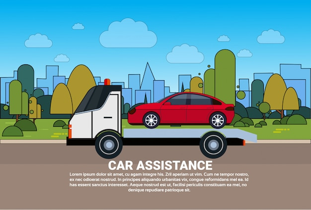 Modèle d'assistance de voiture avec service d'assistance routière modèle de bannière d'évacuation de véhicule de remorquage Vecteur Premium