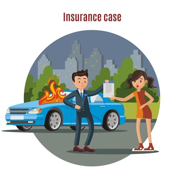 Modèle D'assurance Automobile Coloré Vecteur gratuit