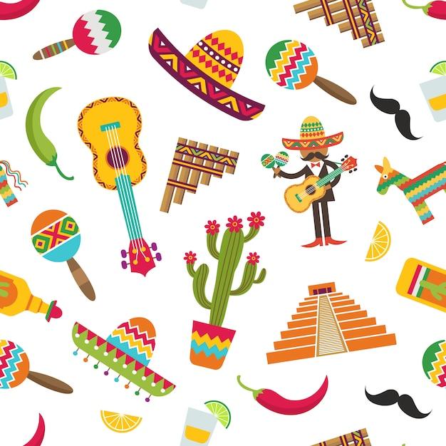 Modèle d'attributs plat mexique ou illustration Vecteur Premium