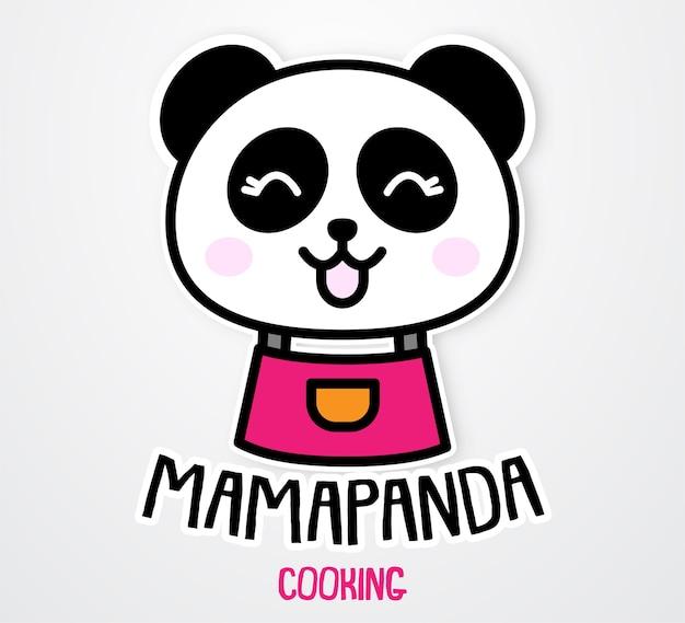Modèle d'autocollant mignon et drôle de maman panda Vecteur Premium